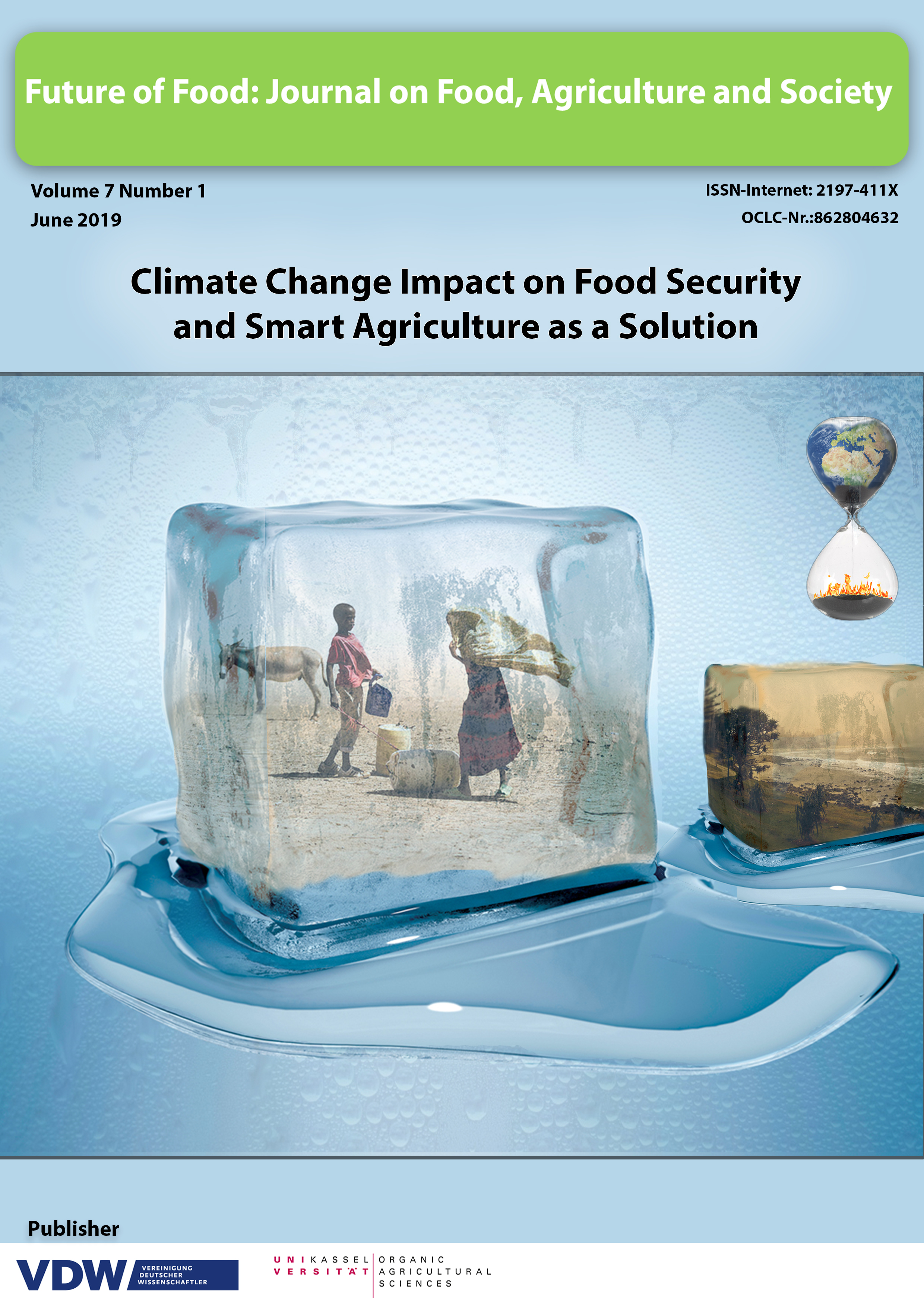 The image shows rural people in a melting icecube under the heading climate change impact on food security and smart agriculture as a solution
